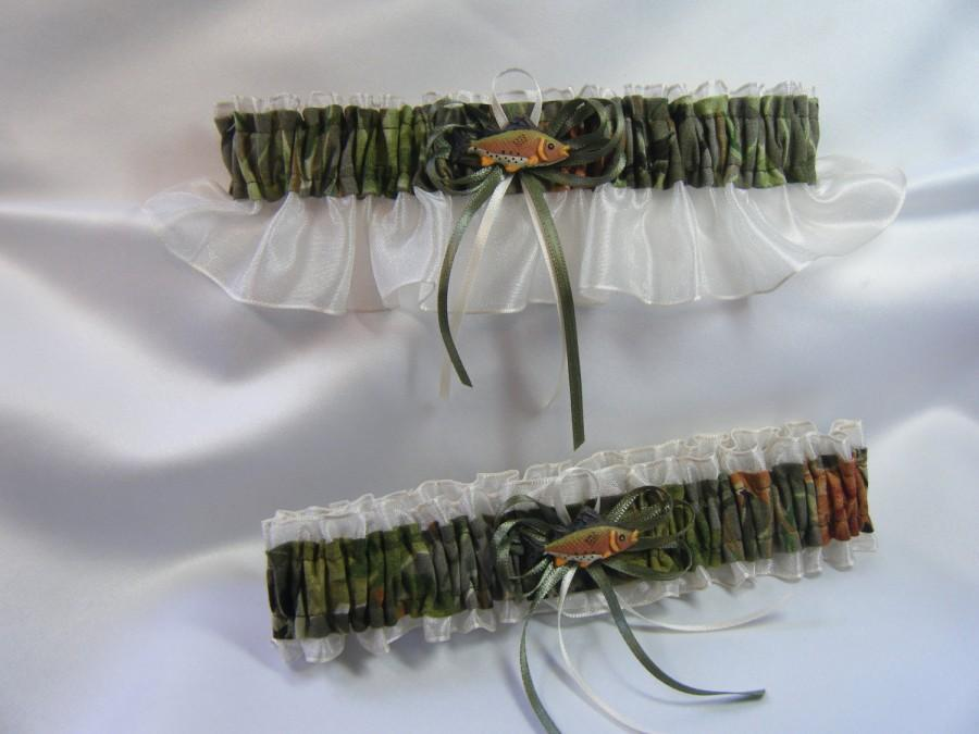 Wedding - FISHING CAMOUFLAGE wedding garters Fish Camo garter Ivory