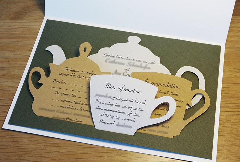 Wedding - Wedding Invitations Set, Tea Time Themed Wedding, Tea Ceremony, English Style Party, Tea Pot, Tea Set, Cutout, Scrapbook, Papercut by Naboko