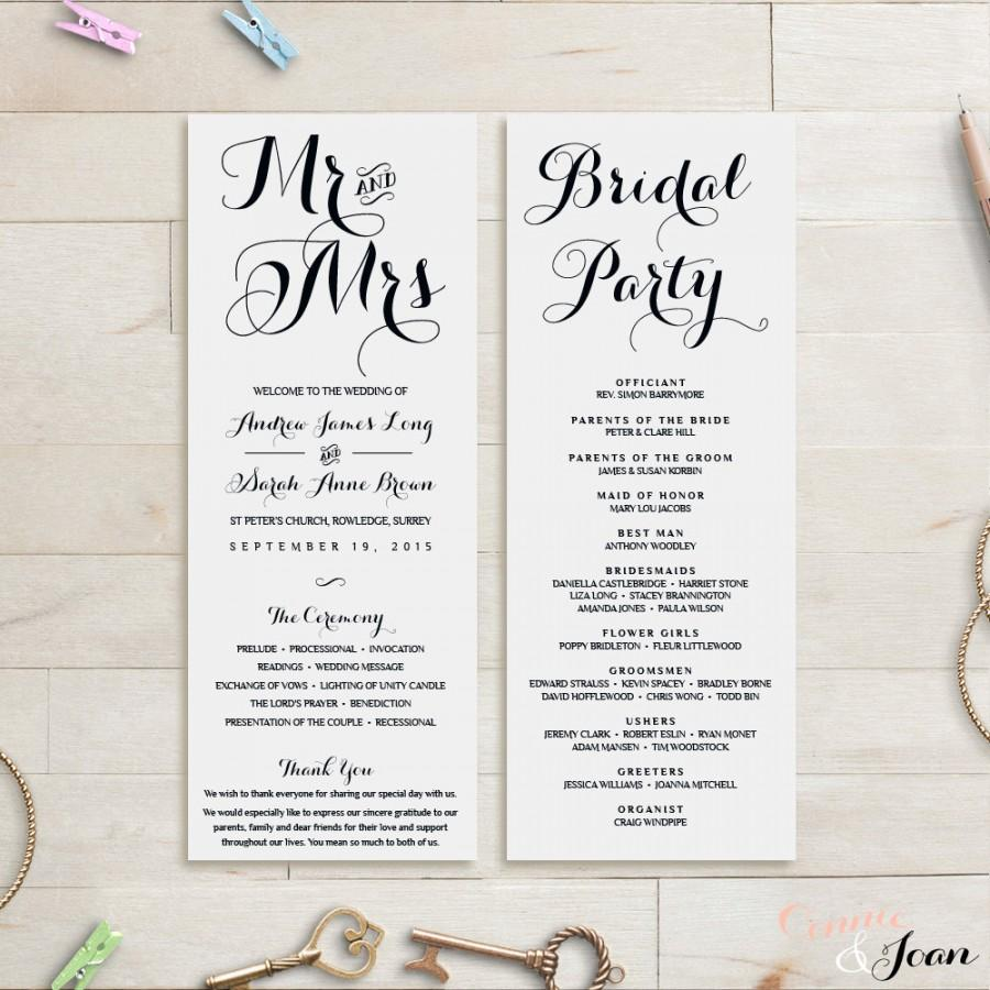 Wedding Program Template Order Of Service
