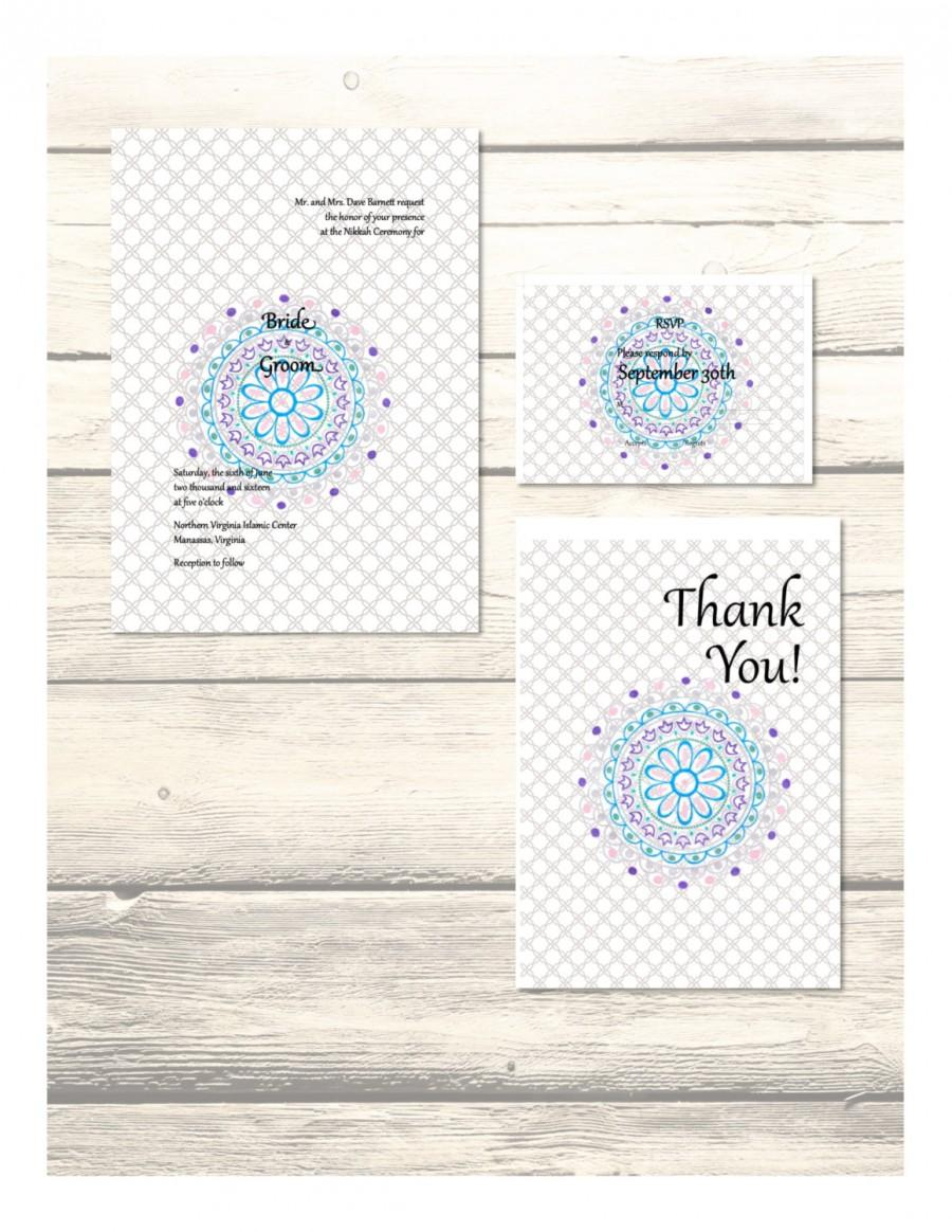 Set Of Nikah Wedding Invitation, RSVP & Thank You Cards Customizable ...
