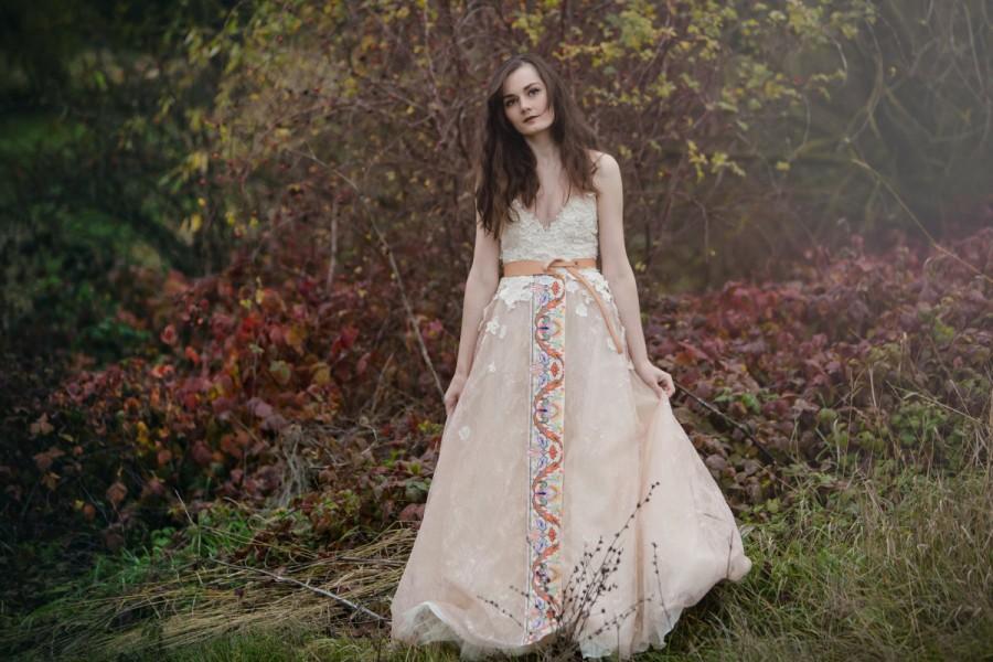 Wedding - Beige embroidered dress