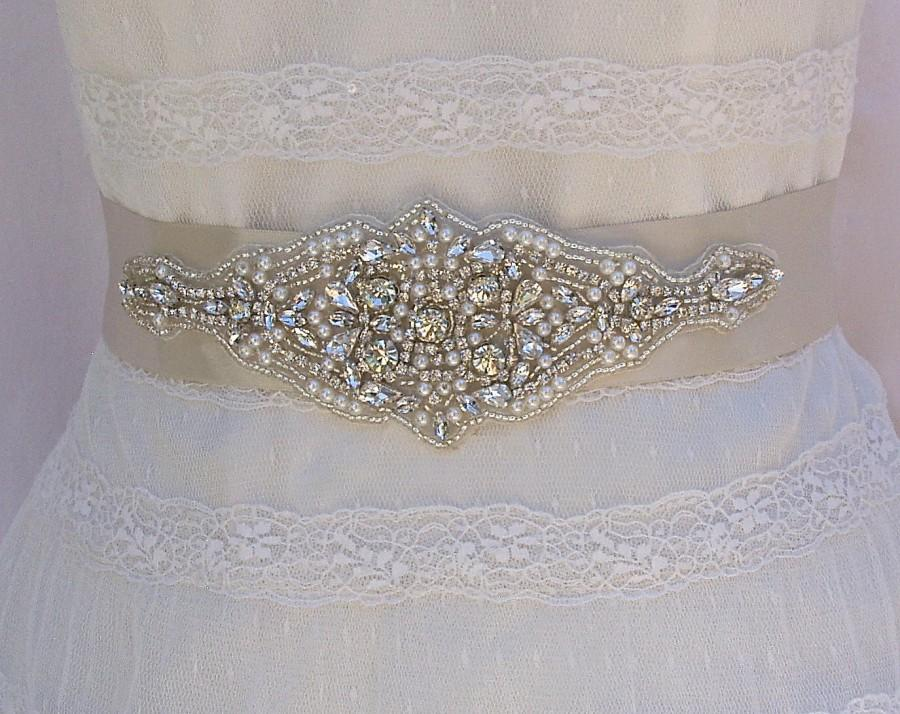 Hochzeit - SALE 25% Off Limited Time, Bridal Sash, Wedding Sash in Pale Champagne With Rhinestones and Pearls, Bridal Belt,  COLOR CHOICES
