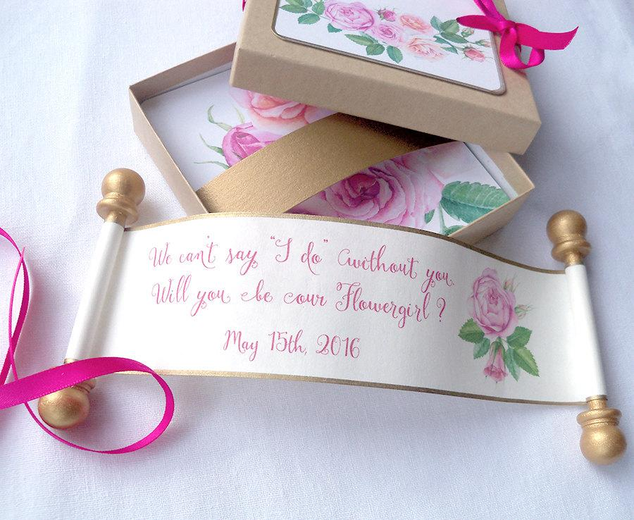 will you be my flower girl card wedding party invitation customized flowergirl invitation boxed mini scroll pink and gold roses one set - Customized Party Invitations