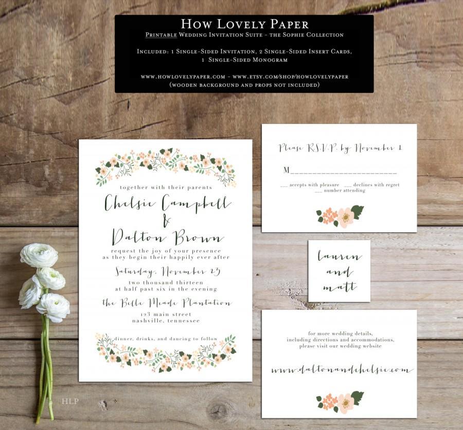 Hochzeit - Printable Wedding Invitation Suite - the Sophie Collection
