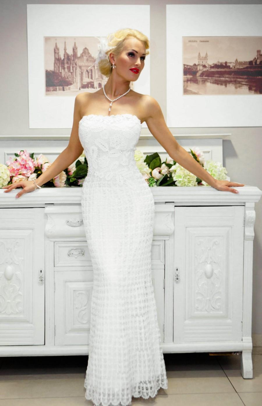 Hochzeit - SALE Miss Emilie-unique exclusive crochet wedding gown, size 36 (european)