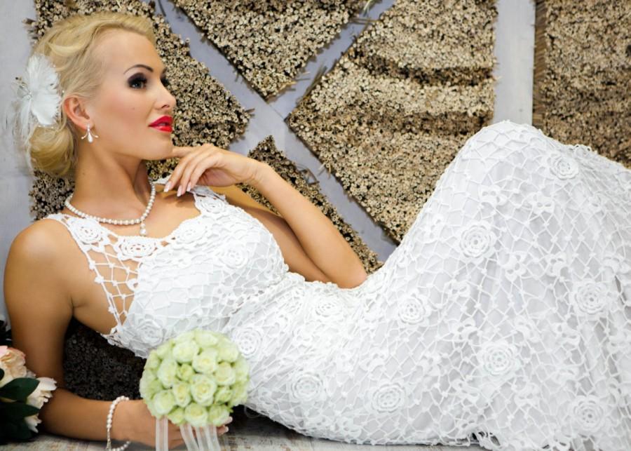 Hochzeit - SALE! Half price, was USD999. Exclusive crochet wedding/prom dress-Lady