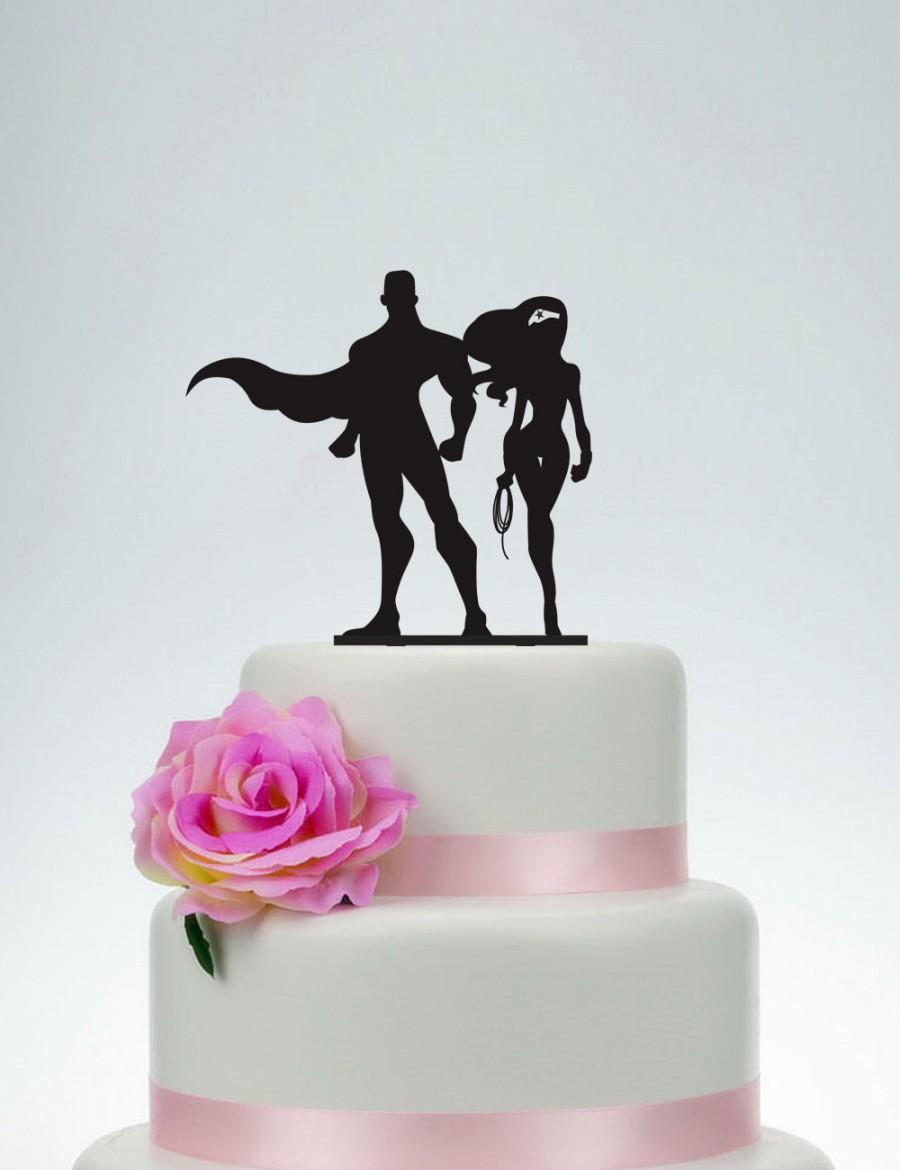 Mariage - Wedding Cake Topper,Wonder Girl And Super Man Cake Topper,Custom Cake Topper,Unique Cake Topper,Cartoon Topper,Cake Decoration P094
