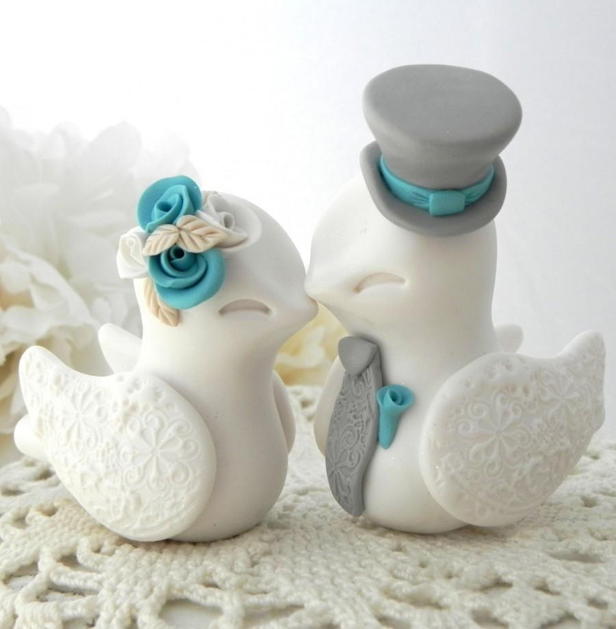 Nozze - Reserved for Therine - Love Birds Wedding Cake Topper, White, Turquoise and Grey, Bride and Groom Keepsake, Fully Customizable