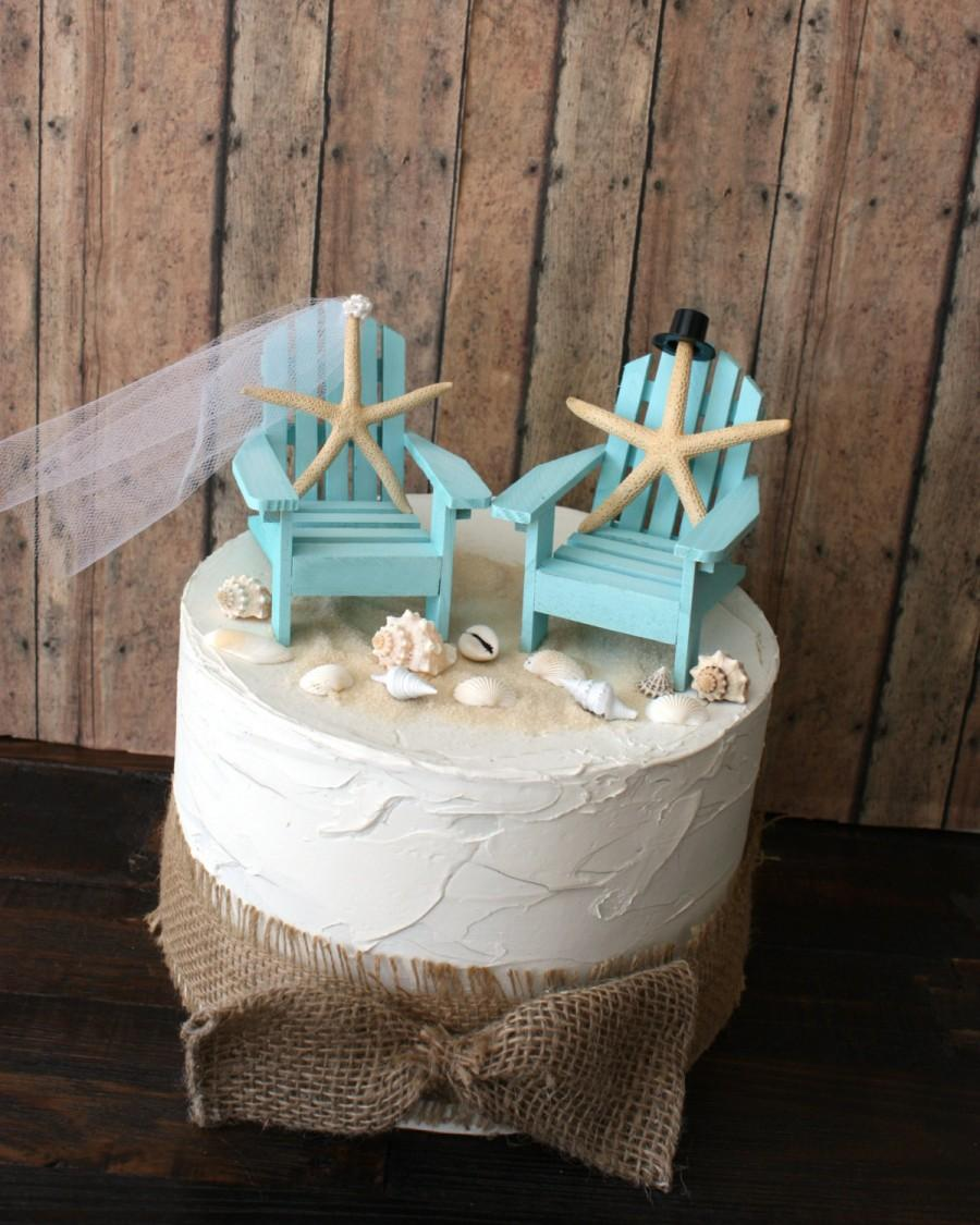 Something Blue Beach Wedding Cake Topper Miniature Adirondack Chairs Beach  Chairs Beach Wedding Starfish