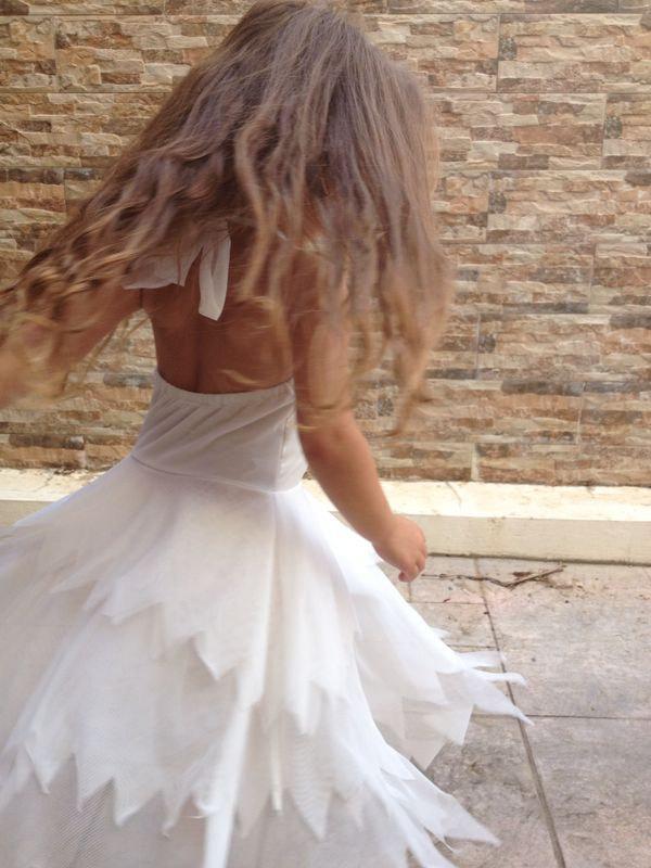Hochzeit - Flower girl- white flower Tinkerbell fairy dress
