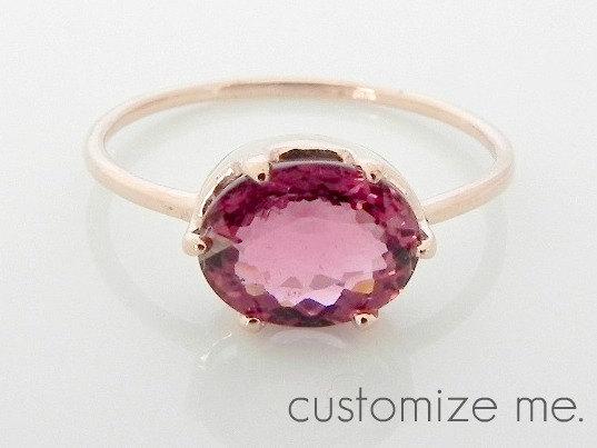 937295a9b Pink tourmaline ring, rubellite ring, solitaire engagement ring, bezel set  ring, 1 carat ring, oval pink tourmaline ring, 14K rose gold ring