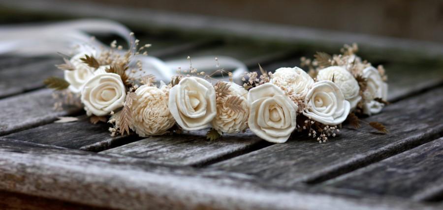 زفاف - Sola  Roses flower Hair Crown Sola flowers Bridal Headpiece Bridesmaids Flower girls Headpiece Baby's Breath Beach inspired