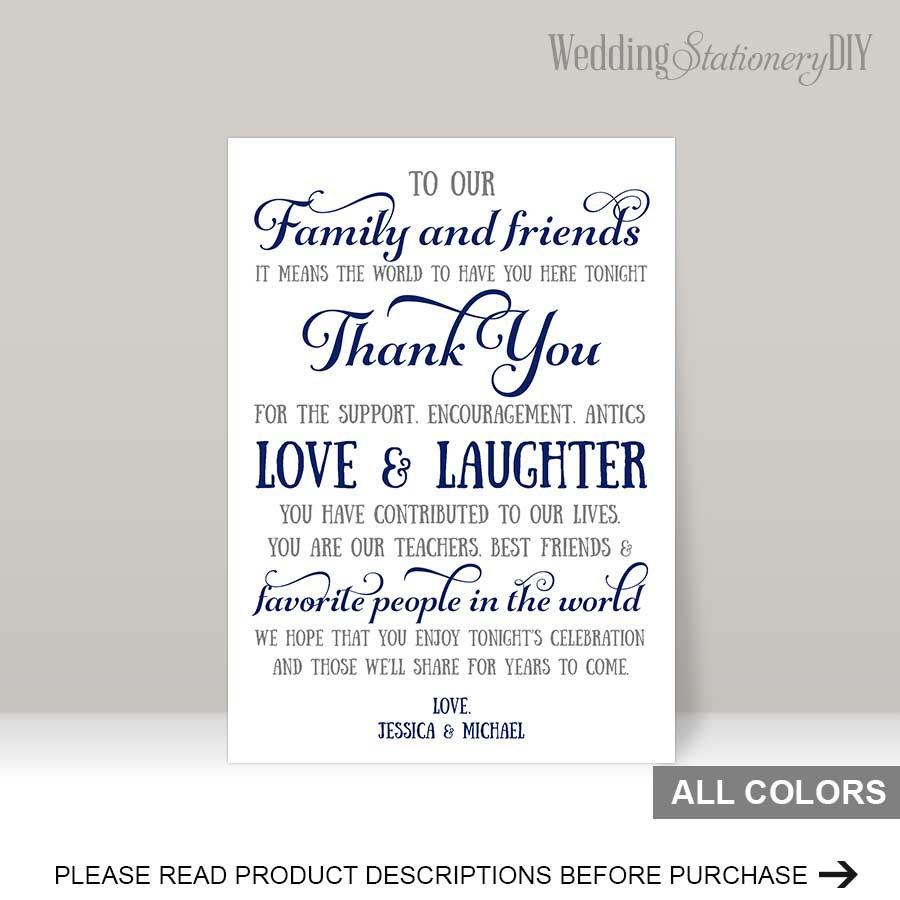 Navy Wedding Reception Thank You Card Templates