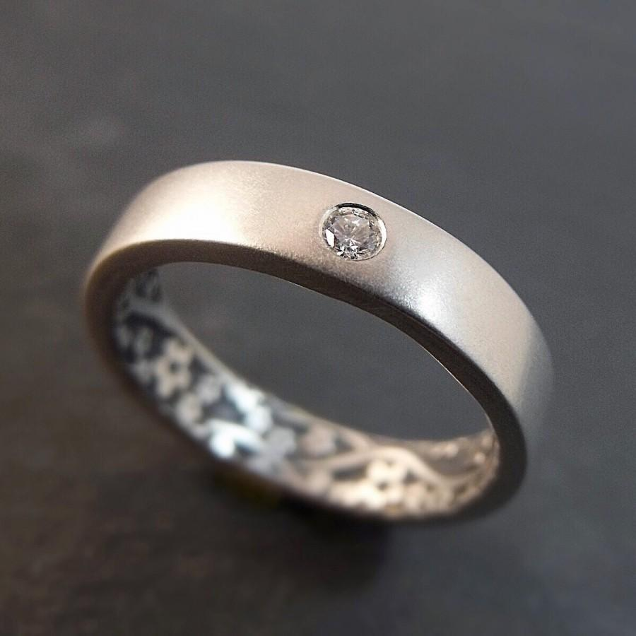 Wedding - Engagement Ring - Sterling Silver Band with Diamond or Moissanite - Opposites Attract Floral - Handmade in Seattle