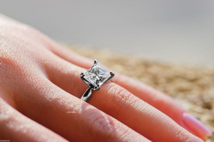2 85 Ct Princess Cut Engagement Ring 14k White Gold Bridal Jewelry Solitaire Anniversary Simple Wedding Unique Zhedora