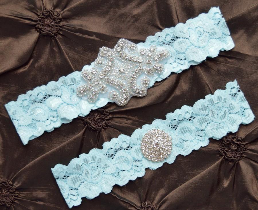 Wedding - Blue Wedding Garter Set, Crystal Bridal Garter Set, Vintage Inspired Wedding Stretch Lace Garter, Bridal Garter, Garter Belt