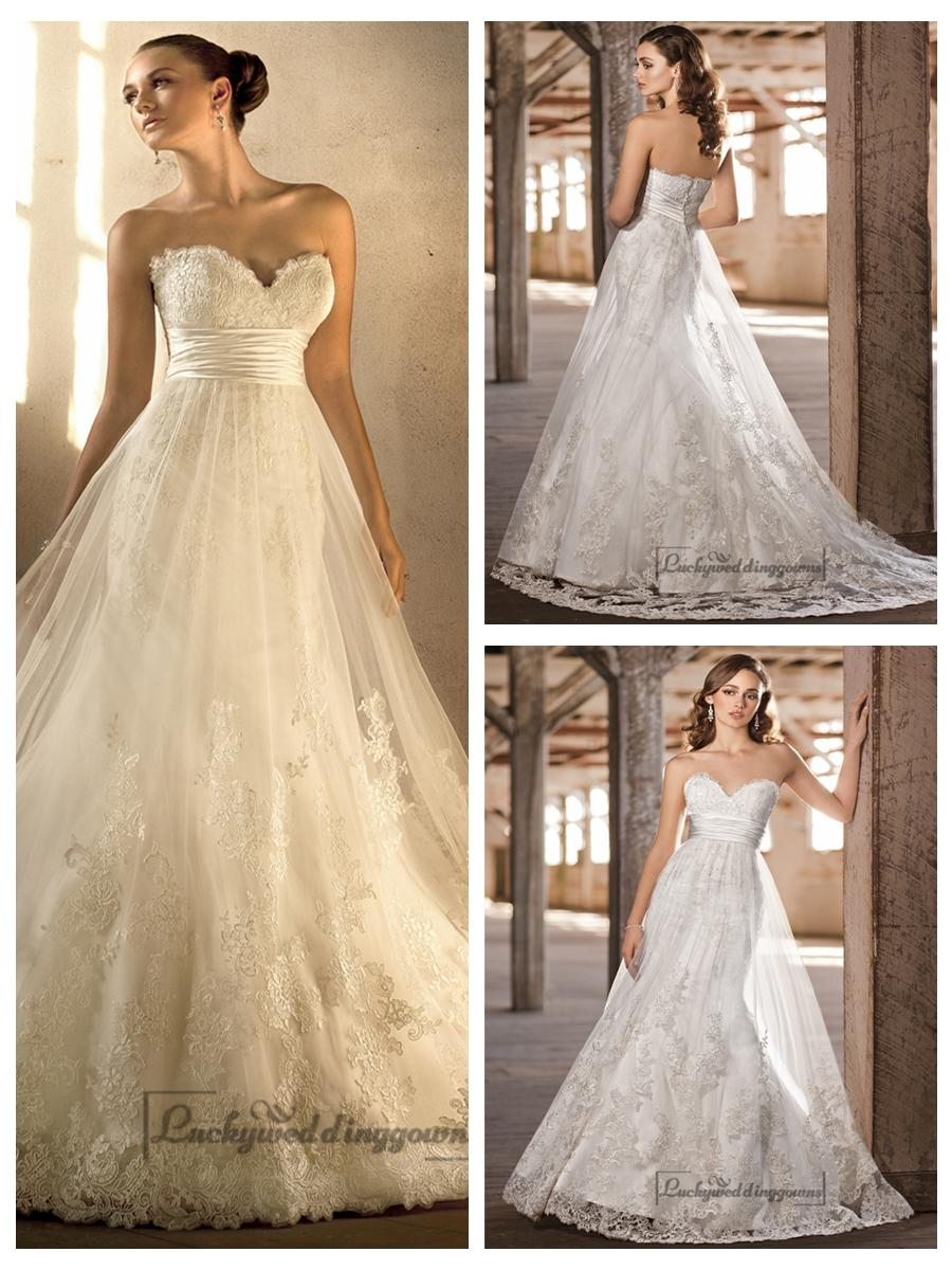 Wedding - Gorgeous Sweetheart A-line Lace Over Empire Wedding Dresses