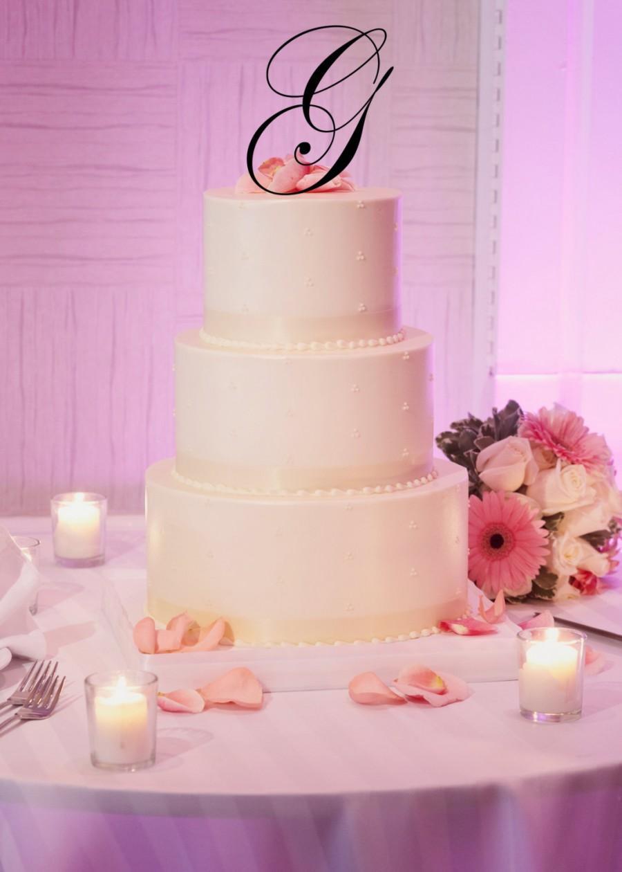 "Свадьба - 5"" Tall Silver Gold Mirror Acrylic Wedding Monogram Initial Cake Topper Any Letter A B C D E F G H I J K L M N O P Q R S T U V W X Y Z"