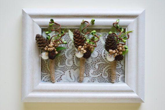 Winter Boutonniere, Gold Boutonniere, Woodland Boutonniere, Succulent  Boutonniere, Grooms Lapel Pin, Gold Green Wedding, Sparkling