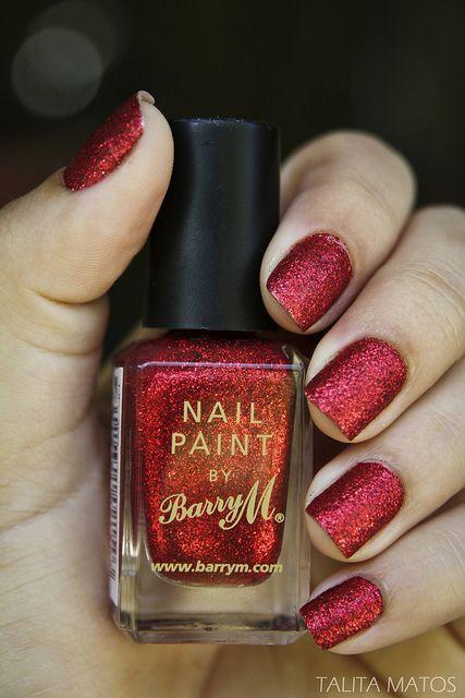 Свадьба - Red Glitter Nail Paint
