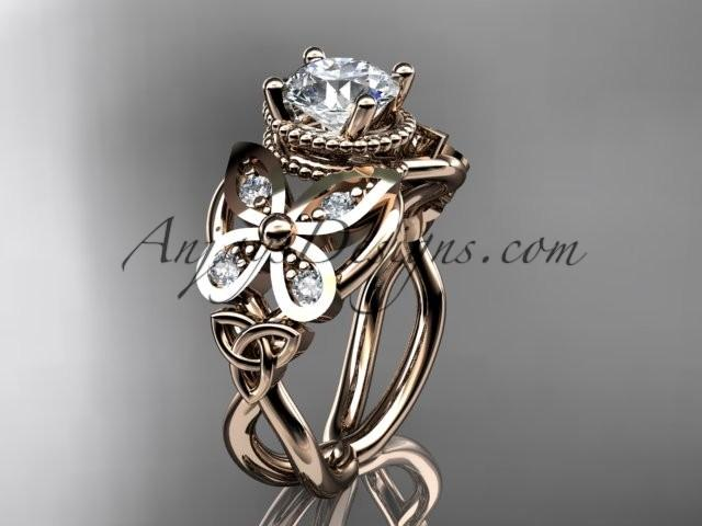 Hochzeit - Spring Collection, Unique Diamond Engagement Rings,Engagement Sets,Birthstone Rings - 14kt rose gold diamond celtic trinity knot engagement ring wedding band