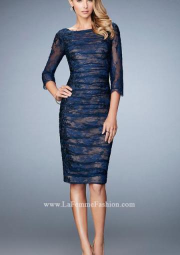 Wedding - 2016 Zipper Sheath Navy 3/4 Length Sleeves Lace Appliques Pink Straps Knee Length