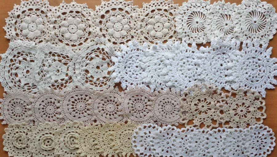 Mariage - 36 White, Beige, Ecru, Eggshell, and Cream Colored Vintage Crochet Doily Medallions, 2.5 to 4 inch size Small Doilies