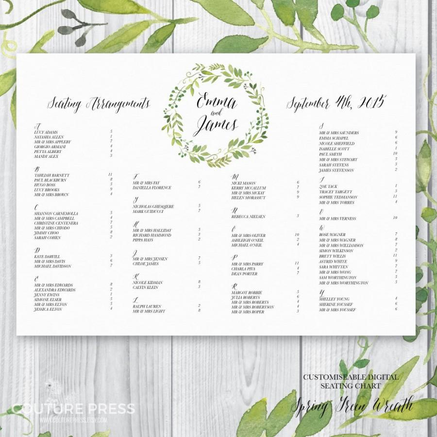 Printable Wedding Seating Chart Watercolour Spring Green Wreath Rustic Whimsical Diy Guest Arrangement Plan Signage