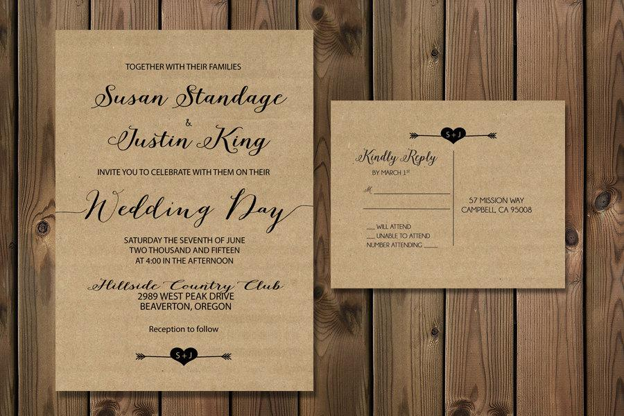 Rustic Kraft Wedding Invitation Suite Minimalist Wedding Kraft