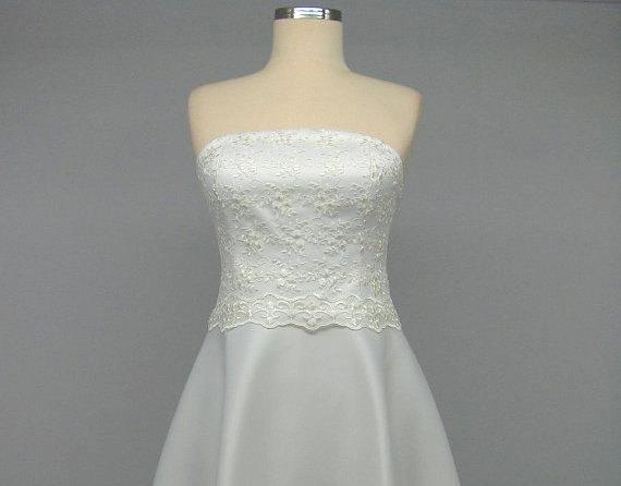 Свадьба - Ivory Bridal Dress, Lace Wedding Dress , Short Lace Dress, Strapless  Dress, Sweetheart Dress, Taffeta Bridesmaid Dress Romantic Bridal Gown
