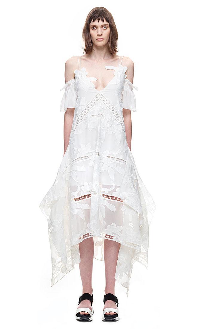 Wedding - Self Portrait Floral Embroidered Midi Dress In White