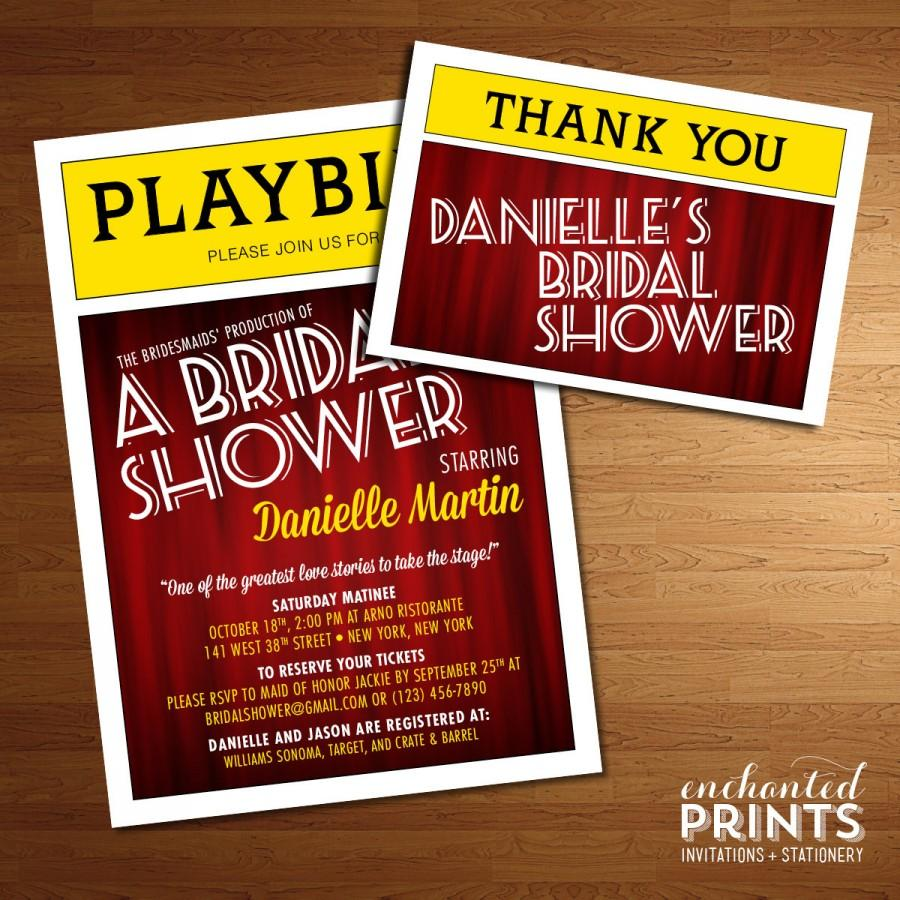 broadway playbill invitation theater themed nyc bridal shower printed invites or printable. Black Bedroom Furniture Sets. Home Design Ideas