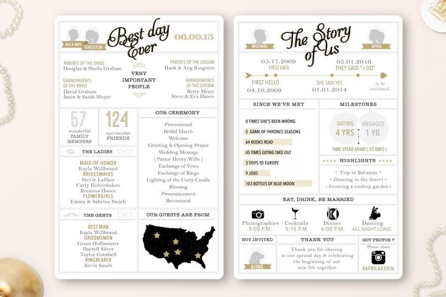 Mariage - Printable - Infographic wedding program, customizable