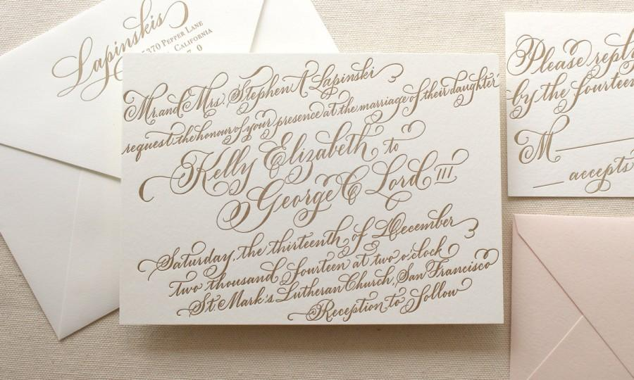 The Gerbera Suite  Letterpress Calligraphy Wedding Invitations