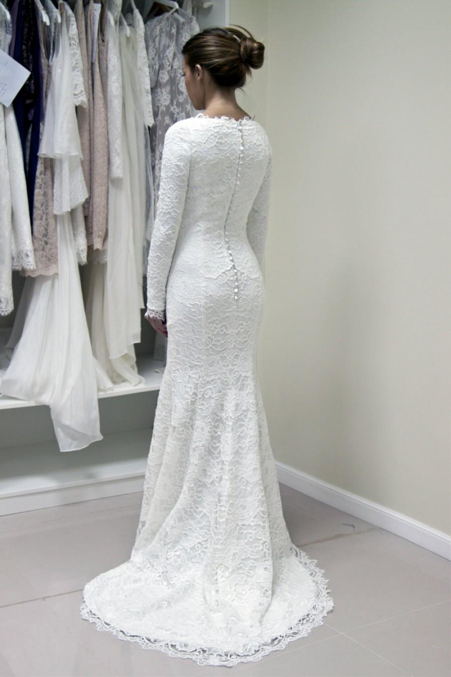 French Lace Wedding Gown With Lined Sleeves And Scalloped Neckline ...