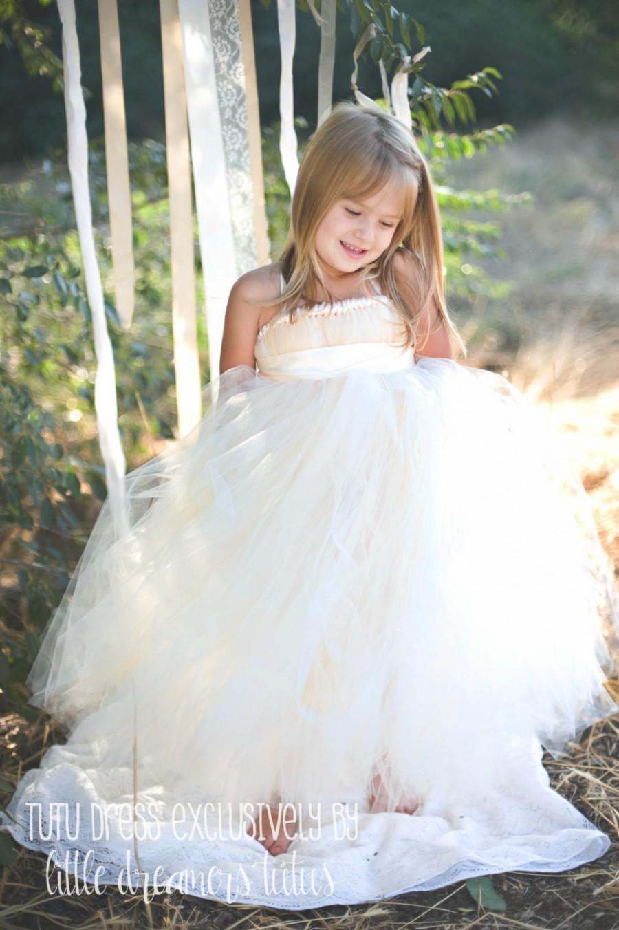 Свадьба - Ivory Flower Girl Tutu Dress