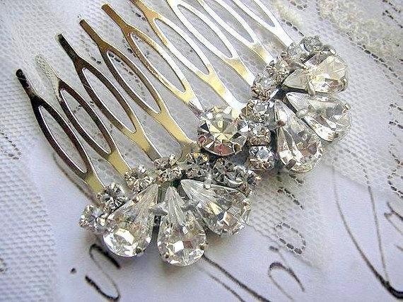 Mariage - BRIDAL hair comb vintage style wedding HAIR ACCESSORIES sparkle Rhinestones