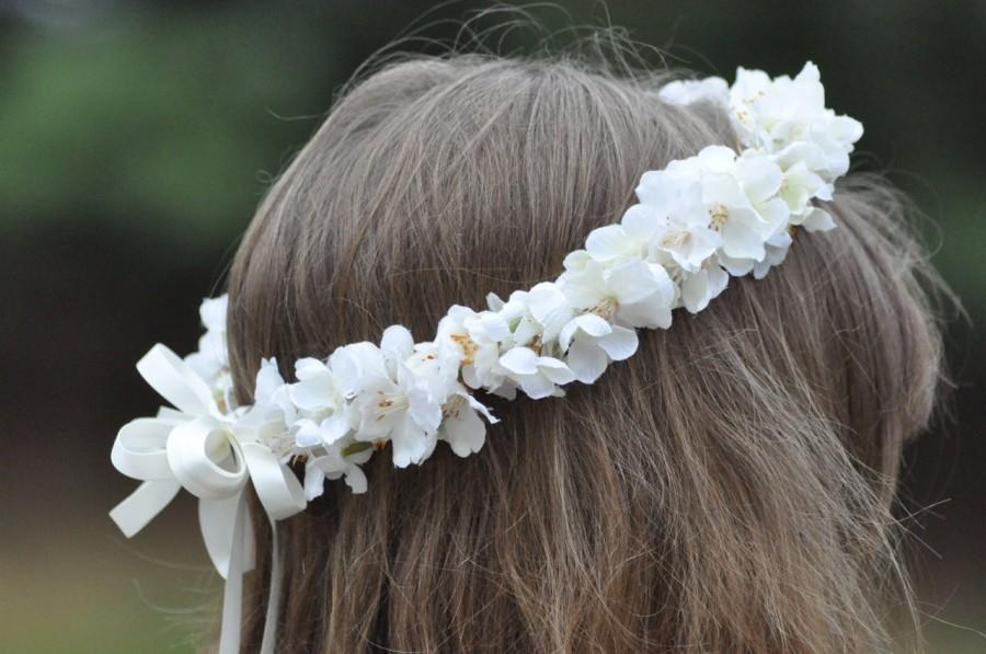 Mariage - Silk Flower Girl Wreath, First Communion Floral Crown, Wedding Flowers, Cherry Blossom Headpiece by Holly's Flower Shoppe.