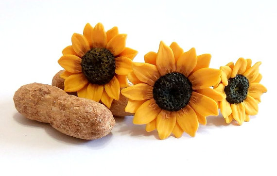 Mariage - Sunflower Hair Pins, Big Sunflower Hairpin, Sunflower Hair Clip, Summer Hair Accessories, Yellow Flower Hair pin, Wedding Hair Flower - Set