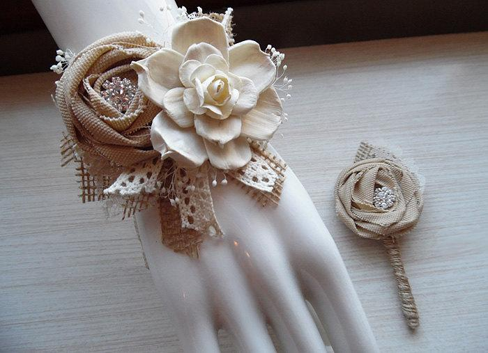 Свадьба - Wrist Corsage and/or Boutonniere, Sola Flowers, Tan Rolled Cotton Roses, Rhinestones, Rustic Country Wedding. Made to Order.