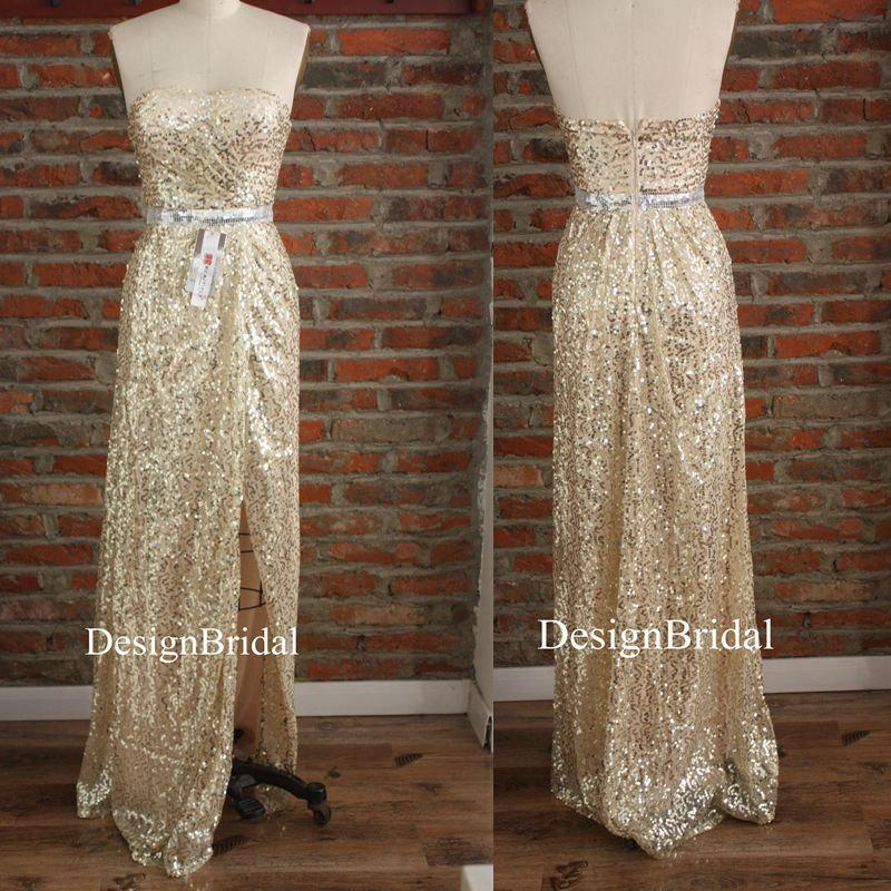 Свадьба - Sexy Gold Sequin Long Dress,Maid of Honor Dress,Strapless Cocktail Dresses,Pinup Party Dresses with High Side Slits,Bachelorette Party Dress
