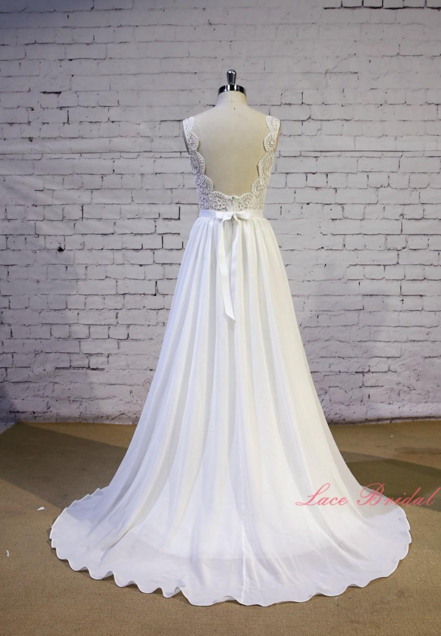 Свадьба - Exquisite Lace Wedding Dress V Shape Lace Neckline Wedding Gown Ivory A-line Bridal Gown Backless Chiffon Wedding Dress with Chapel Train