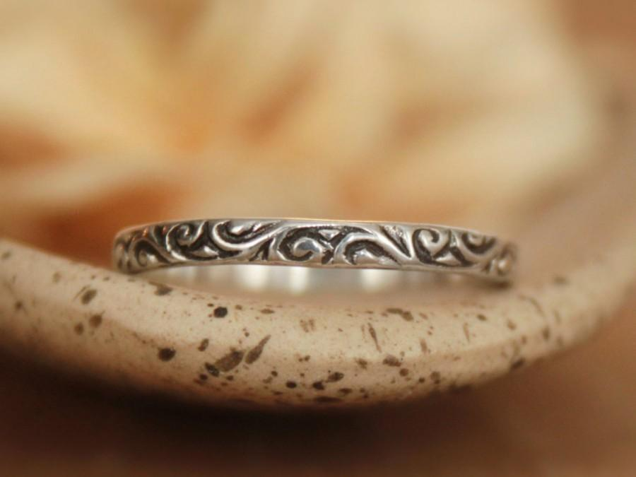 Mariage - Size 6.5 - Ready To Ship Gift - Delicate Narrow Wedding Band in Sterling Silver - Smoke Swirl Promise Ring - Dainty Stacking Band