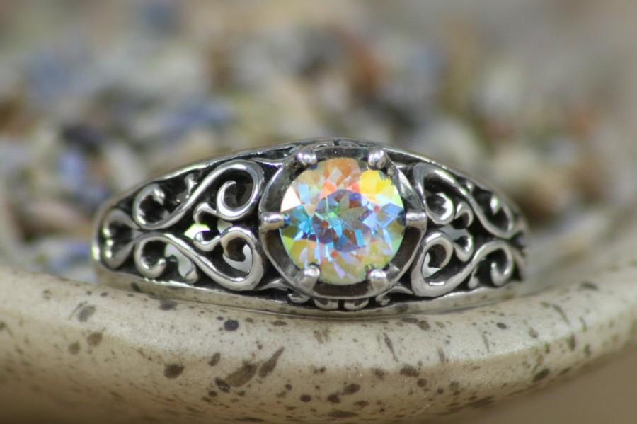 Mariage - Size 7.75 - Victorian Filigree with Opalescent Topaz In Sterling - Silver Ring with Color Change Gemstone - Ready To Ship - Gift For Her