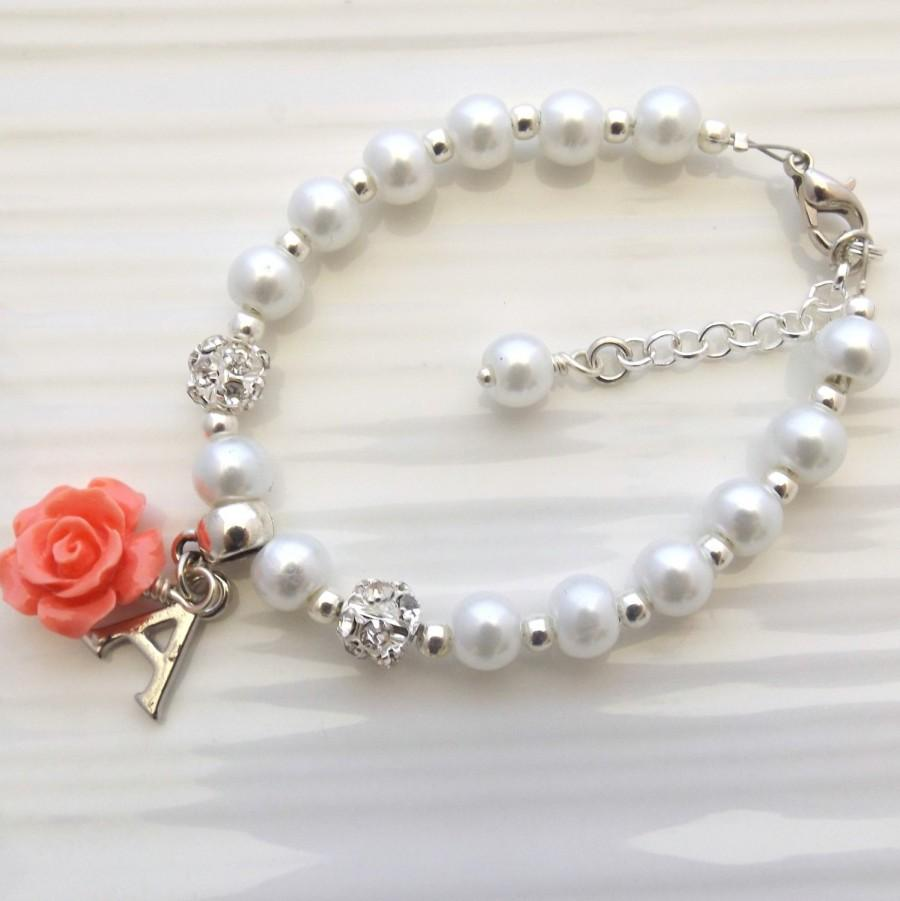 94b8a6e118283 Childrens Personalized Bracelet, Flower Girl Bracelet, Flower Girl ...