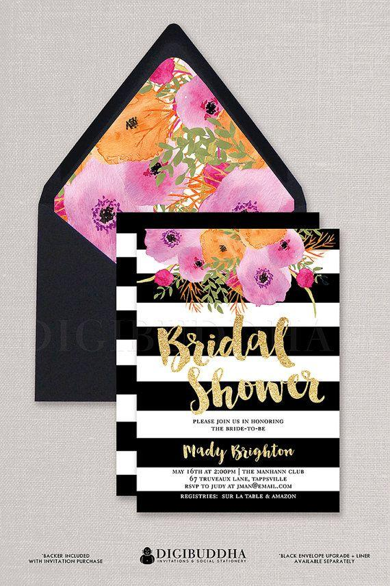 Mariage - Black & White Bridal Shower Invitation Stripes Gold Glitter Modern Watercolor Flowers Wedding FREE PRIORITY SHIPPING Or DiY Printable- Mady