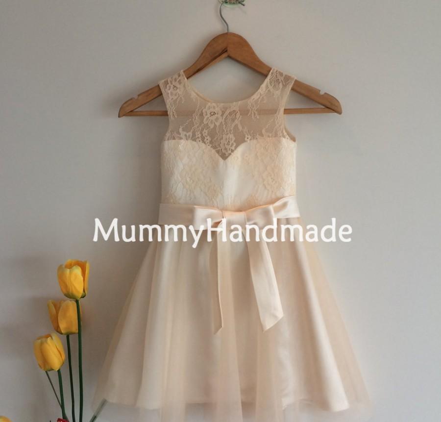 Свадьба - Champagne Lace Tulle Bowknot Sash Knee Length Flower Girl Dress