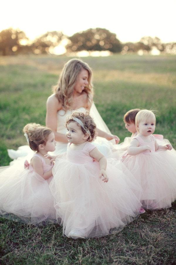 2908aa2cfc Light Blush Flower Girl Dresses Gorgeous Tutu Frocks pastel rustic weddings pink  dress custom gowns tulle dress stylemepretty