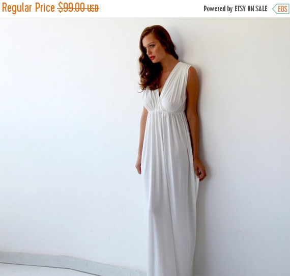 Maxi Ivory Bridal Gown Wedding Dress With Short Sleeves Minimal