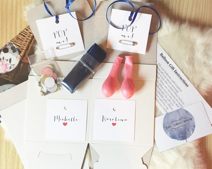 Mariage - DIY Pop Me Balloon Gift Box- will you be my bridesmaid, proposal, bridal party, bridal favor, secret message, prom
